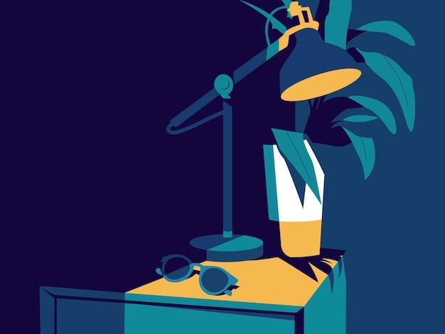 Illustrazione vettoriale di interior design di una lampada e una pianta su un tavolo