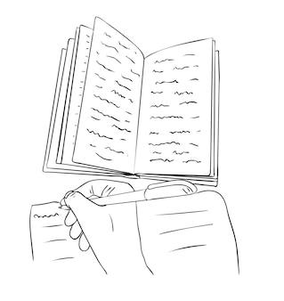 Illustrazione vettoriale, libro aperto isolato con scarabocchi e mano con una penna nei colori bianco e nero, disegno dipinto a mano di contorno