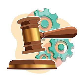 Illustrazione vettoriale del modello hammer.3d dei giudici del martello del giudice. isolato.