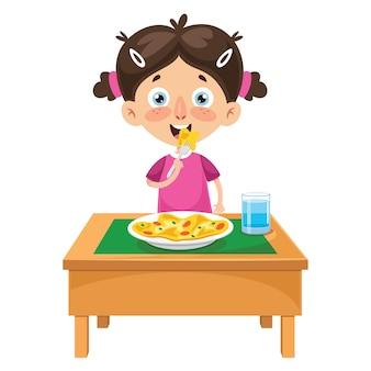 Illustrazione vettoriale di kid cooking meal