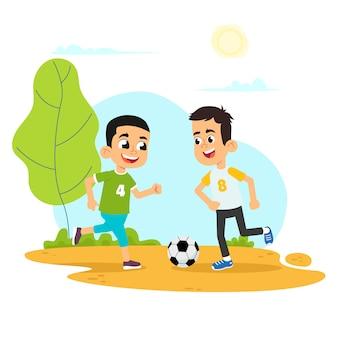 Vector l'illustrazione del bambino che gioca a calcio nel campo da giuoco