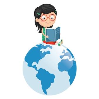 Illustrazione vettoriale del libro di lettura del bambino