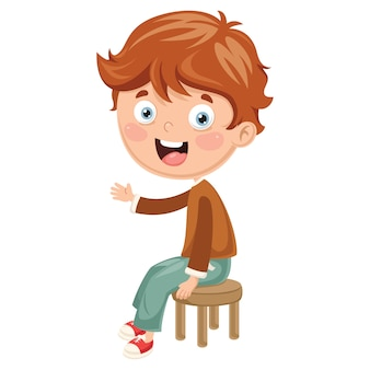 Illustrazione di vettore del bambino che si siede sulla sedia
