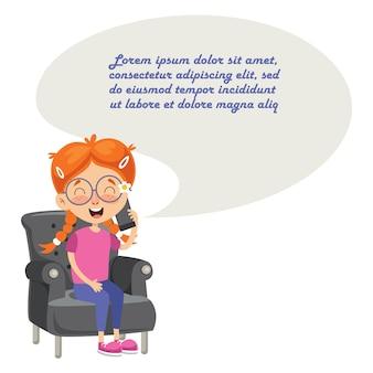 Illustrazione vettoriale di kid talking on phone