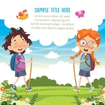 Illustrazione vettoriale di kid trekking