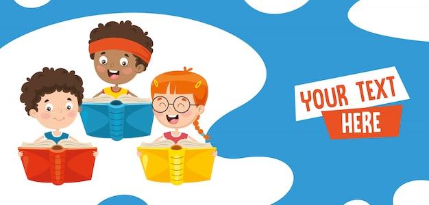 Illustrazione di vettore del libro di lettura dei bambini