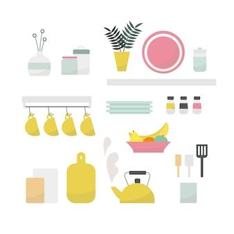 Illustrazione vettoriale di elementi interni della cucina isolati su priorità bassa bianca.