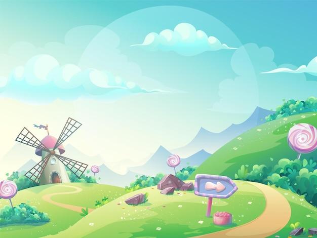 Illustrazione vettoriale di un paesaggio con il mulino di caramelle marmellata.