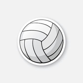 Pallone da pallavolo in pelle di illustrazione vettoriale attrezzatura sportiva adesivo per cartoni animati