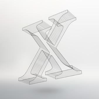 Illustrazione vettoriale della lettera l su sfondo bianco. font di mesh poligonali. alfabeti di contorno del telaio metallico.