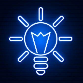 Illustrazione vettoriale di lampadina e concetto di idea. insegna al neon.