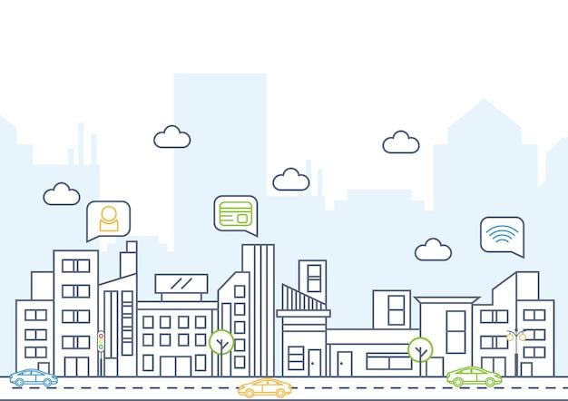Illustrazione di vettore: linea art vector illustration di grande fondo moderno della città