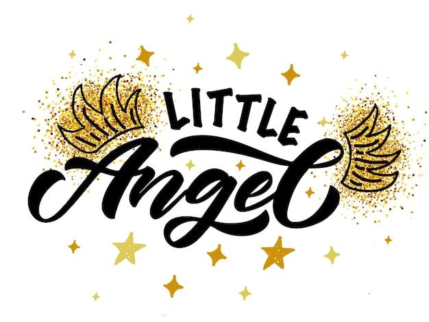Illustrazione vettoriale del testo di un piccolo angelo per i vestiti delle ragazze etichetta e icona del distintivo di piccolo angelo
