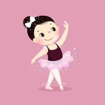Illustrazione vettoriale di piccola ragazza ballerina danza