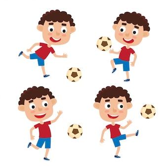 Illustrazione vettoriale di ragazzini biondi in camicia e pantaloncini che giocano a calcio in stile cartone animato