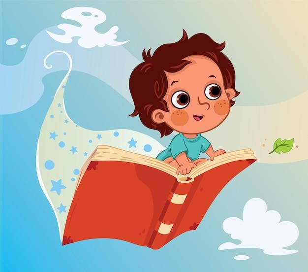 Illustrazione vettoriale di un ragazzino seduto su un libro volante