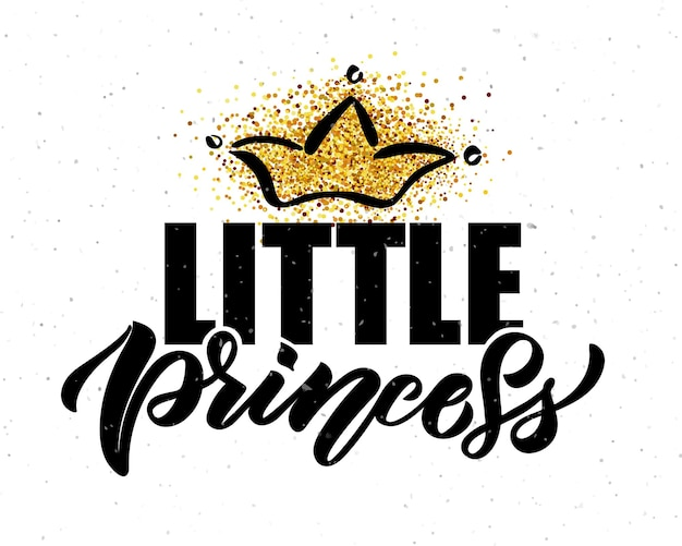 Illustrazione vettoriale del testo della piccola principessa per i vestiti delle ragazze icona dell'etichetta del distintivo della principessa tshirt