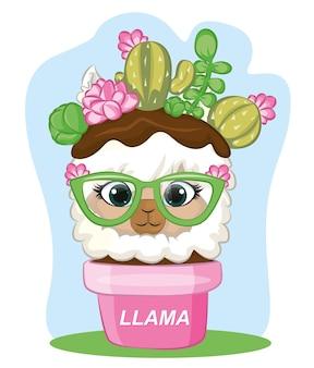 Illustrazione vettoriale di un lama tra il cactus e il vaso. lama estiva con gli occhiali. pianta di cactus in un vaso.