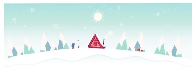Illustrazione vettoriale di lonely in winterself isolamento cabina nella neve