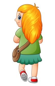 Illustrazione vettoriale di una ragazza bionda lunga andare a scuola