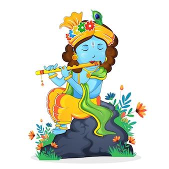 Illustrazione vettoriale del signore krishna che suona il flauto vettore