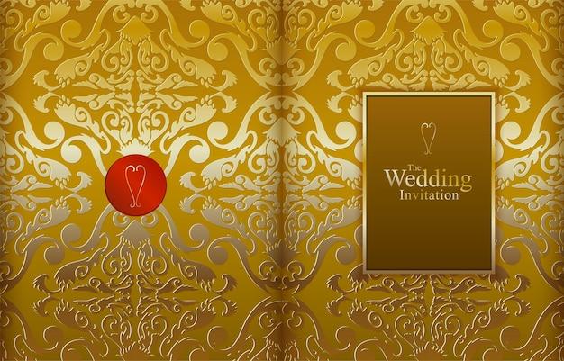 Illustrazione vettoriale beige dorato di lusso per invito a nozze