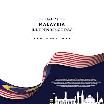 Illustrazione vettoriale della celebrazione del giorno dell'indipendenza della malesia bandiera della malesia Vettore Premium