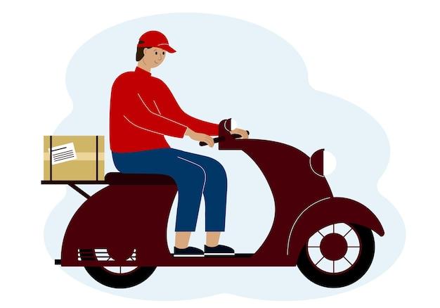 Illustrazione vettoriale di un uomo di consegna uomo su uno scooter con una scatola