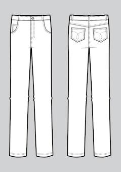 Illustrazione vettoriale di jeans uomo. viste anteriore e posteriore. modello