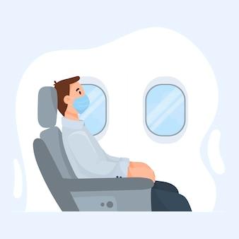 L'illustrazione vettoriale di un uomo su un aereo dopo la pandemia di coronavirus e l'apertura dei confini in una maschera si trova davanti all'oblò.