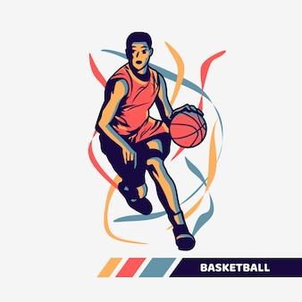 Illustrazione vettoriale uomo che gioca a basket con opere d'arte in movimento a colori