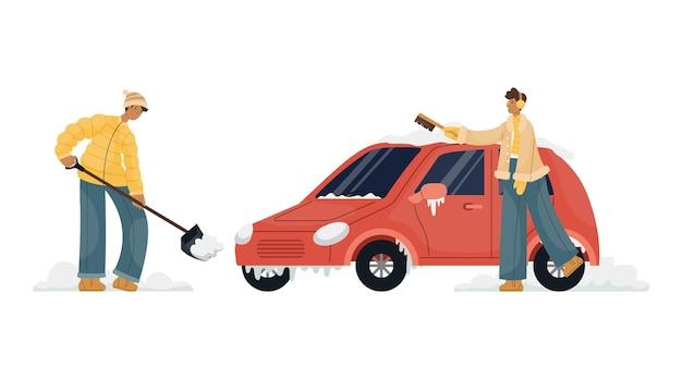 Illustrazione vettoriale di un uomo in vestiti invernali che pulisce la neve in un parcheggio auto. un uomo spazza la neve con una spazzola da un'auto.