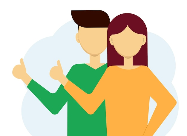 Illustrazione vettoriale di uomo e donna che mostrano i pollici in su