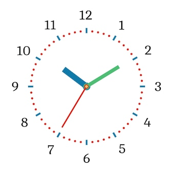 Illustrazione vettoriale di orologio meccanico. quadrante di orologio su sfondo bianco.