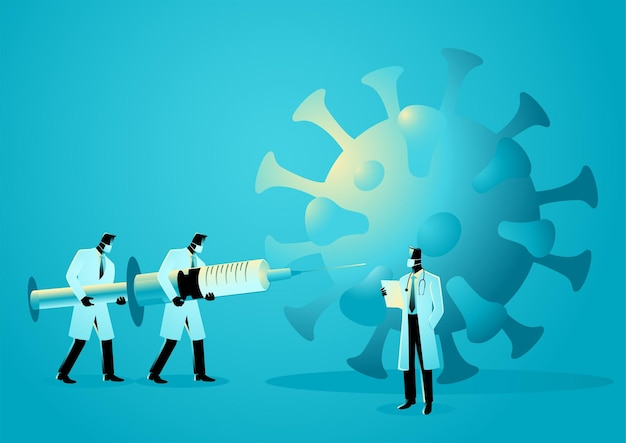 Illustrazione vettoriale del team medico solleva la siringa gigante per combattere la pandemia, il vaccino per il concetto covid-19