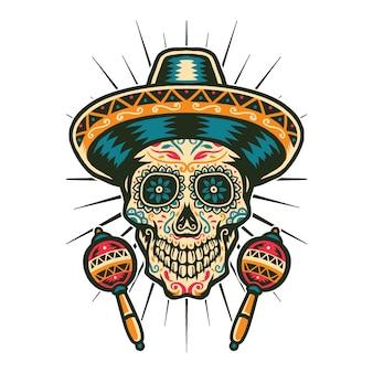Illustrazione vettoriale di teschio messicano di zucchero