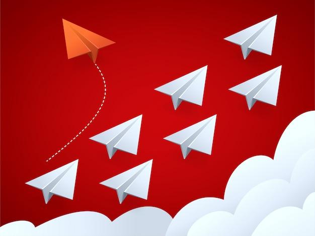 Vector l'illustrazione dell'aeroplano rosso di stile minimalista che cambia la direzione e quelle bianche
