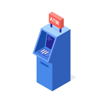 Una illustrazione vettoriale di un moderno bancomat. bancomat. bancomat della banca.