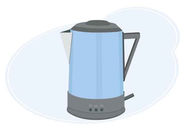 Illustrazione vettoriale di un bollitore elettrico moderno ed elegante in blu. isolato