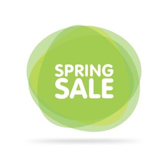 Illustrazione vettoriale di etichette verdi colorate trasparenti moderne per saluti e promozione. grande vendita di primavera