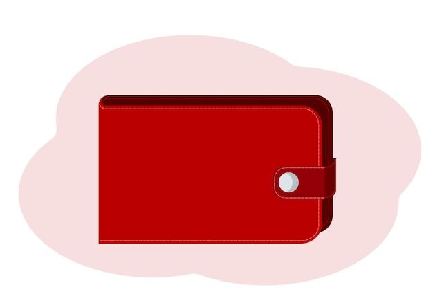 Illustrazione vettoriale del portafoglio moderno chiuso sul pulsante
