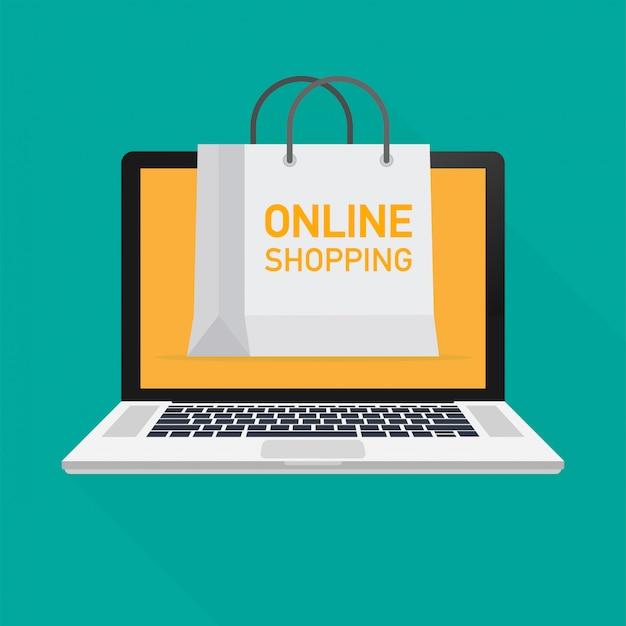 Illustrazione vettoriale di monitor con tenda e parole negozio online. illustrazione vettoriale