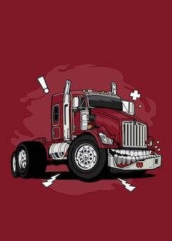 Illustrazione vettoriale monster red truck design colorato di alta qualità con un concetto divertente realizzato dallo schizzo originale e digitalizzato utilizzando corel draw