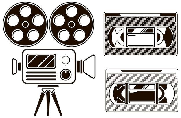 Un'illustrazione vettoriale dell'icona del film nero impostata su sfondo bianco