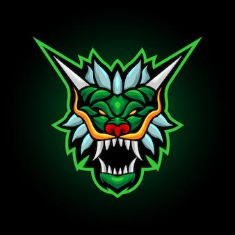 Illustrazione vettoriale, mitologia animale drago verde mascotte logo design per squadra sportiva