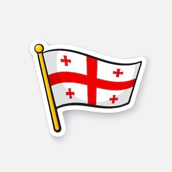 Illustrazione vettoriale bandiera nazionale della georgia sull'asta della bandiera simbolo di posizione per i viaggiatori