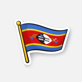 Illustrazione vettoriale bandiera nazionale dei paesi dello swaziland in africa simbolo di posizione per i viaggiatori