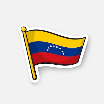 Illustrazione vettoriale bandiera nazionale del venezuela simbolo di posizione per i viaggiatori cartoon sticker