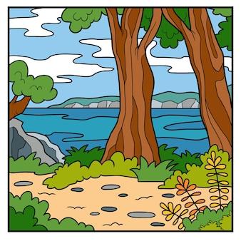 Illustrazione vettoriale, sfondo naturale. costa australiana, giorno d'estate