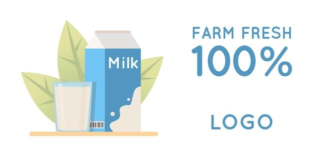 Illustrazione vettoriale di prodotti lattiero-caseari naturali concetto ecologico per cartoline di striscioni adesivi